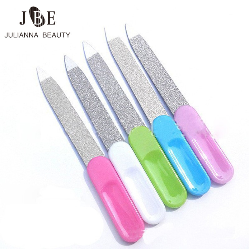 5Pcs Fashion Double Nail Buffer Sided Stainless Steel Metal Nail Art File Manicure Pedicure Tool Nail Files With Color Handle