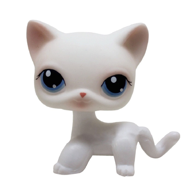 Lps Real Rare Pet Shop Standing Littlest Cat Dog White Pink Glitter Kitty With Blue Eyes PVC Christmas Present Toys Free Mailing