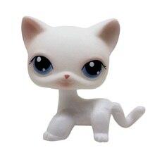 Lps настоящий редкий Pet Shop стоячий маленький кот собака Белый Розовый Блестящий котенок с голубыми глазами ПВХ Рождественский подарок игрушки