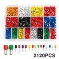 2120 шт Смешанные изолированные концевые зажимы для шнура Ассорти набор электрических проводов обжимные разъемы наконечники комплект для 22-5...