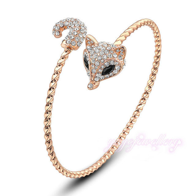 Mytys Fashion Adjustable Sexy Fox Crystal Bangle Rose Gold Plated Animal Jewelry B196