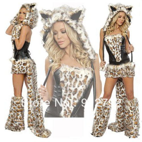 Newest Y Womans Deluxe Furry Leopard Cosplay Costume Hen Party Outfit Animal Set Free Shipping