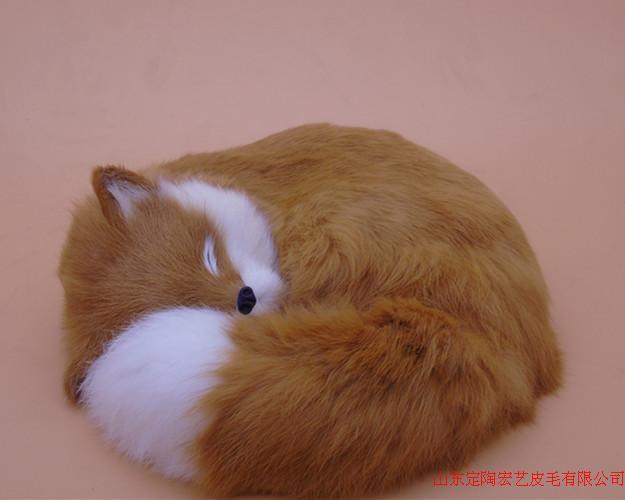 yellow simulation fox toy polyethylene furs big sleeping fox doll gift about 27x27x12cm 202