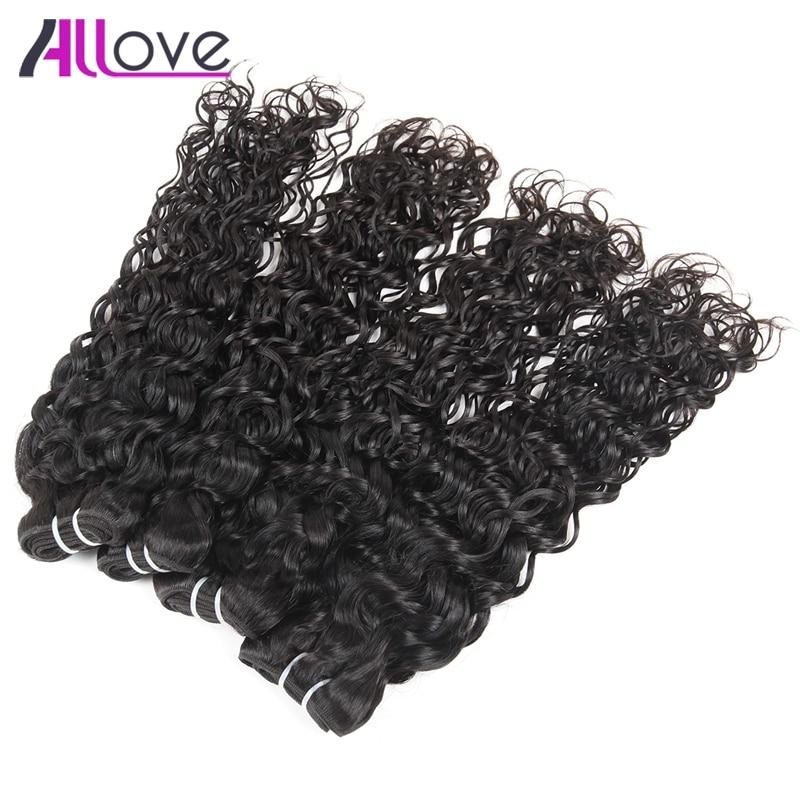 Allove волна воды Человеческие волосы 4bundles 100% Волосы Remy Weave Связки Natural Цвет сырья и индийские Пряди человеческих волос для наращивания