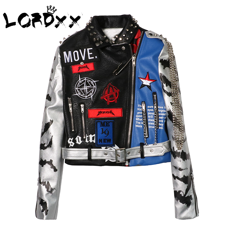 LORDXX Jacket Autumn Women Long Sleeve 2018 Fashion Stud Turn down Collar Faux Leather crop Jackets