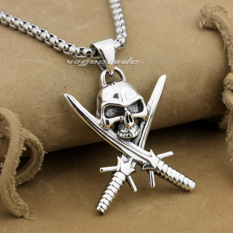 925 Sterling Silver Sword Cross Skull Pirate Mens Biker Pendant 9L017(Necklace 24inch) solid 925 sterling silver skull mens biker pendant 8c011 with matching stainless steel necklace