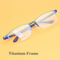 Oversized Glasse Frame for men Pure Titanium Eyewear Light Weight Half rim Business Eyeglasses Optical Prescription Oculos