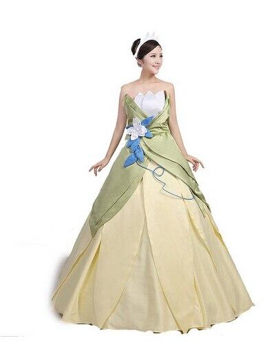 Mega Deal 2017 Custom Made Fantasia Halloween Women Wedding Party Cosplay Princess Tiana Dress Adult Princess Tiana Costume September 2020