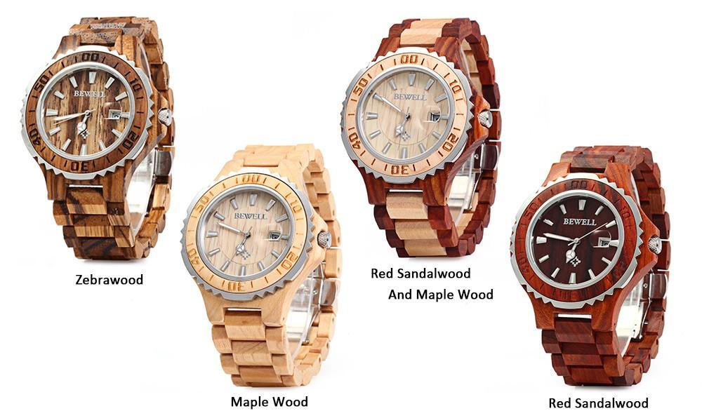 BEWELL 17 Luxury Brand Wooden Men Quartz Watch with Luminous Hands Calendar Water Resistance Analog Wrist watches reloj hombre 7