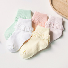 5 Pairs Baby Girls Cotton Socks Cuffed Spring Toddler Girl's Lace Princess Short Basic Socks for Children Girls 0-5Y years