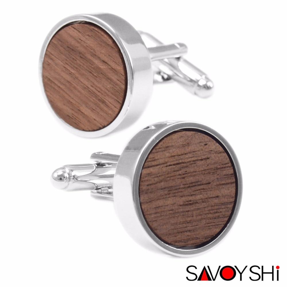 SAVOYSHI Low-key Luxury Wooden Cufflinks for Mens Shirt High Quality Round Walnut Wood Cufflinks Business Gift Brand Men Jewelry