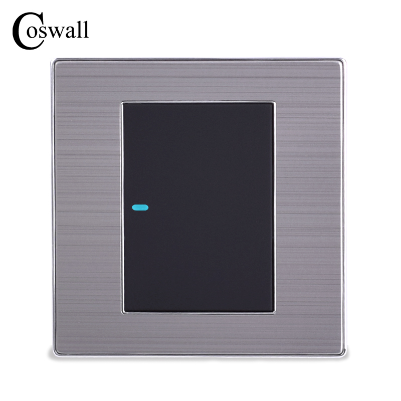 Coswall 1 Gang 2 Way Luxury LED Light Switch Push Button Wall Switch Interruptor Brushed Silver Panel 10A AC 110~250V