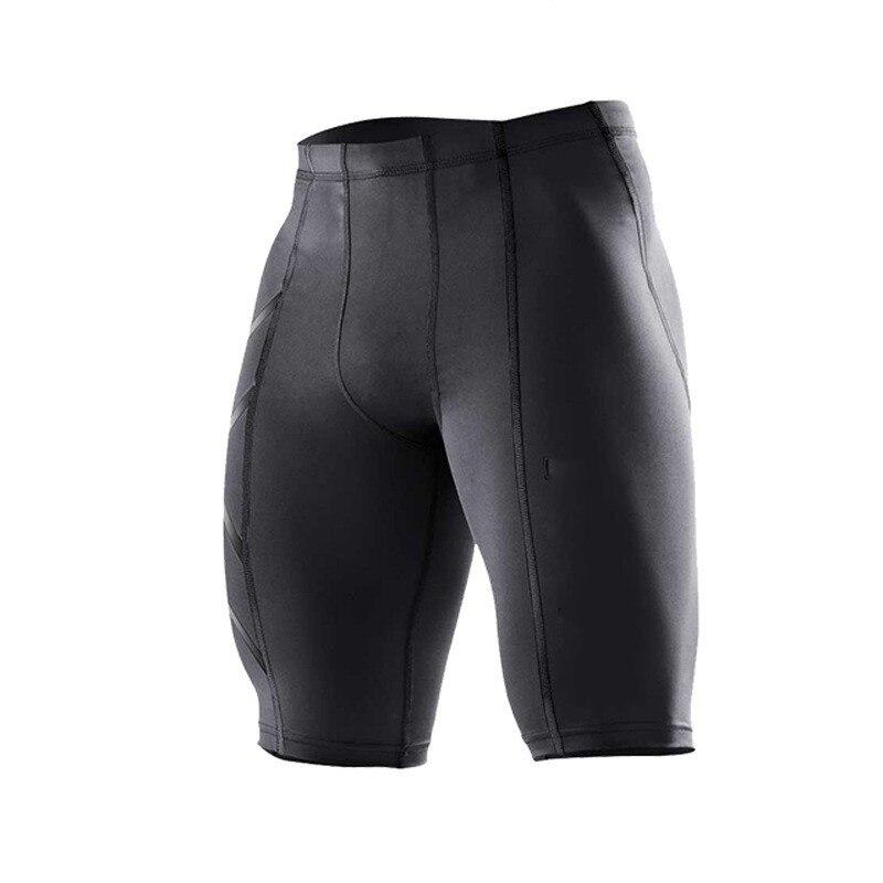 2018 marca de ropa de hombre pantalones cortos de compresión de las Bermudas masculina pantalones cortos en Stock de secado rápido Fitness entrenamiento