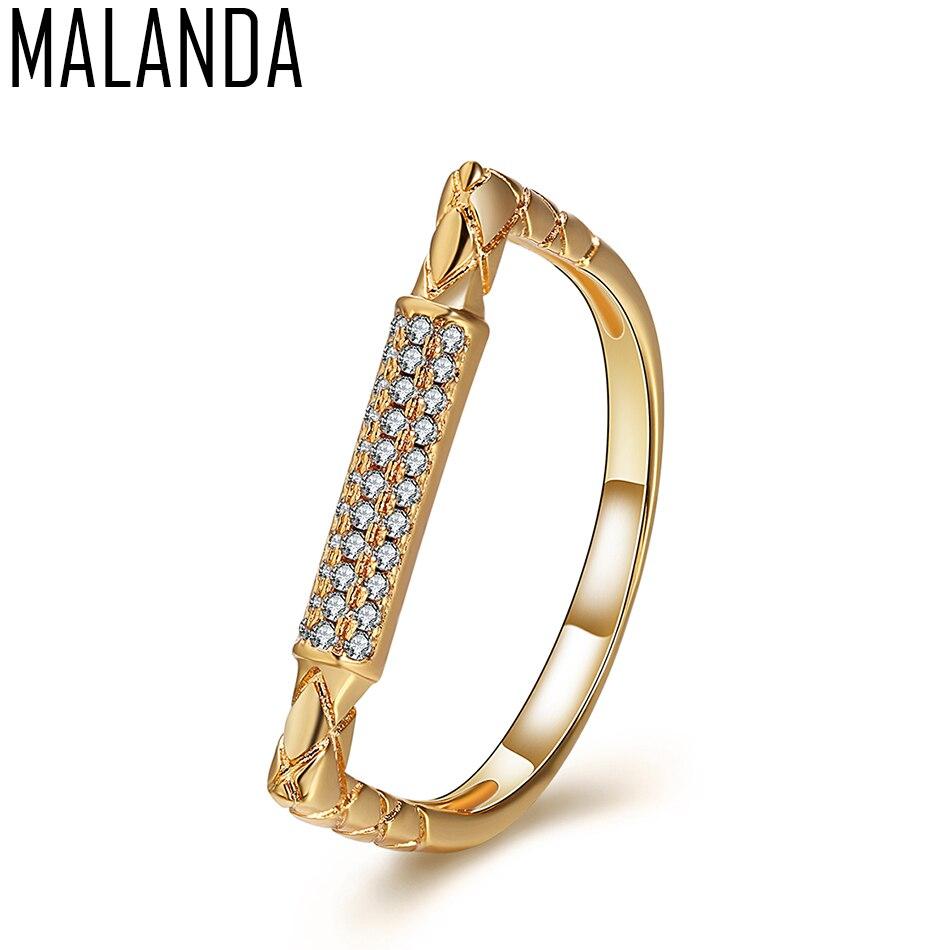 MALANDA Brand New Luxury Irregularity Rings White Zircon Rings For Women Geometric Female Weddings Party Ring Jewelry Gril Gift