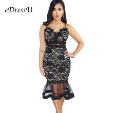 Women Lace Party Dress  Mermaid Cocktail Black White Short Bodycon Club Wear Spaghetti Straps eDressU ME-Q218
