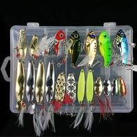 21pcs/set Metal Spoon Lures Fishing Lure Set VIB Sea Bass Baits Various Crankbait Swimbait Fishing Tackles With Box