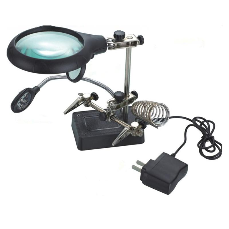 Multifunctional LED Light Magnifier Glass & Desk Lamp Helping Hand Repair Clamp Clip Stand Desktop Magnifying Tool цены