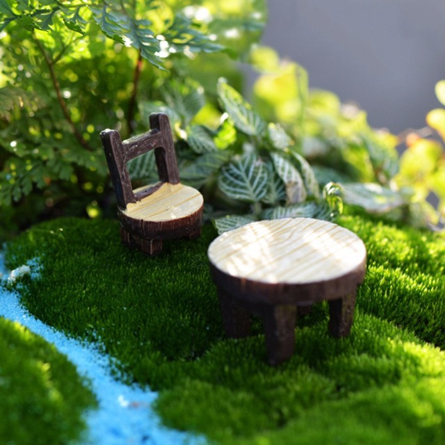 2 unids/set Mini Mesas Sillas Hada resina muebles estatuilla ...