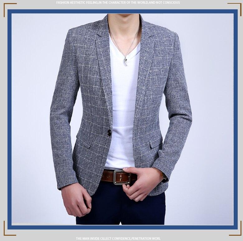 Summer autumn Suit Jacket Cotton Linen Slim Thin men Tide new spring fashion high quality blazer plus size M L XL 2XL 3XL 4XL