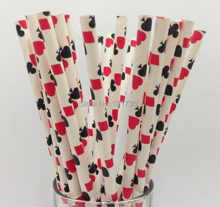 black and red casino paper straws drinking straw for christmas wedding party birthday baby shower decoration - Casino Decorations