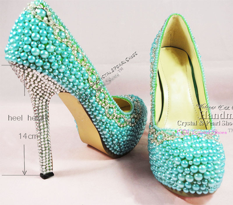 Aquamarine Shoes Teal Pearl Wedding Shoes Platform Dress
