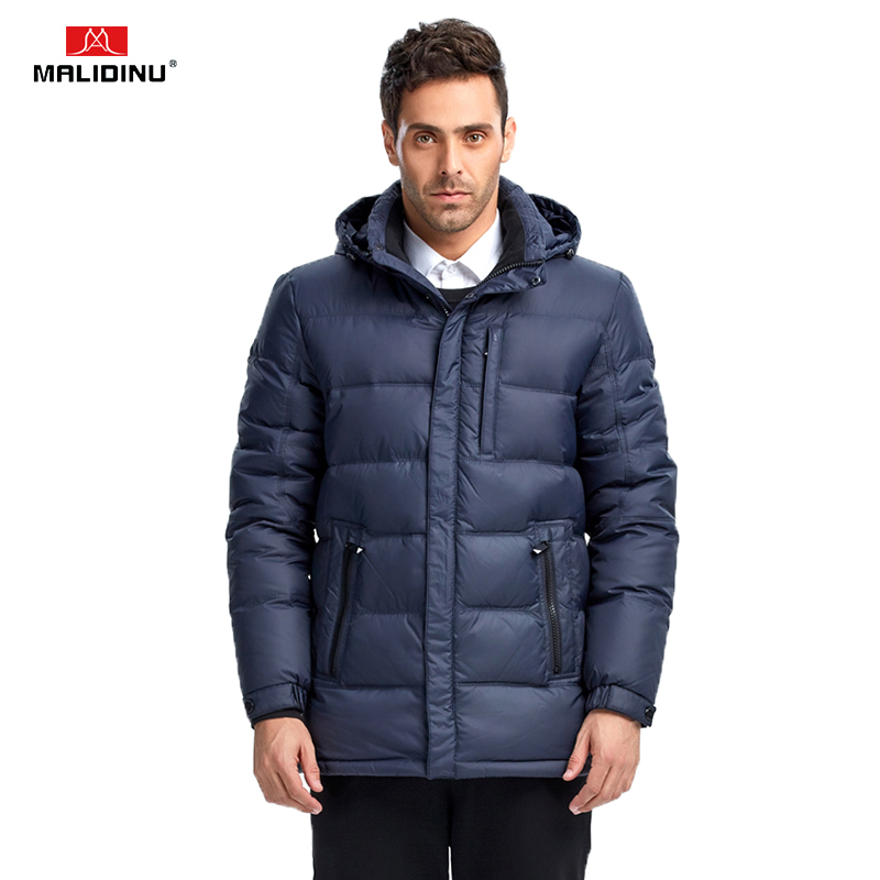 MALIDINU 2019 Men   Down   Jacket High Quality Winter   Down     Coat   Brand Thick Warm Winter Jacket Men 70%White Duck   Down   Free Shipping
