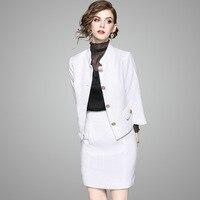 לבן סט חליפות נשים שתי חתיכות Stand סגנון אלגנטי צוואר ארוך שרוולי קישוט כפתור נעורים עיצוב אופנה חדשה 2018