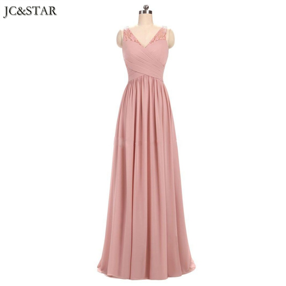 Real Photo Elegant V neck Chiffon Pink Bridesmaid Dress ...