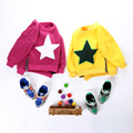 2017 Unisex Children Sweater for Boys and Girls Yellow and Red Star Hoodies Casual Style Sweater for Autumn and Winter Clothes