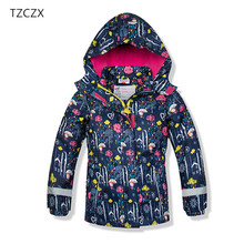 TZCZX 1pcs High Quality Children Girls Print Floral Pattern Hooded Jackets Coats Kids Trench Outerwears Clothes