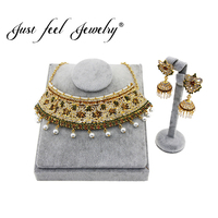 JUST FEEL Fashion India Flower Gold Color Jewelry Sets For Women Simulation Pearl Luxury Choker Necklace Earring Sets Jewelry