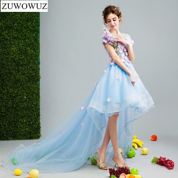 2017 New Arrival Stock Maternity Plus Size Bridal Gown Blue Front Short Back Long Tail