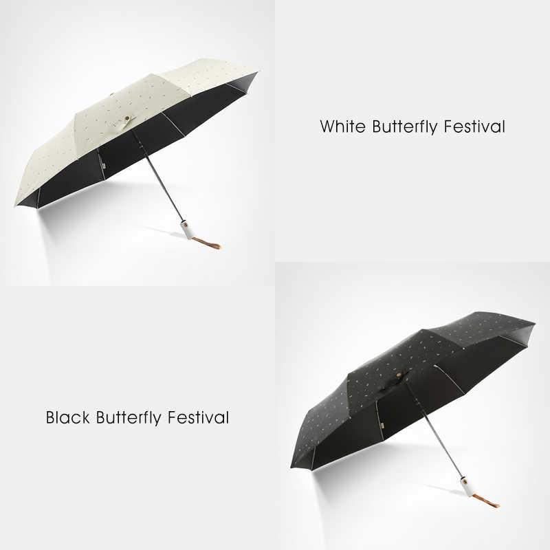 旅行傘雨女性抗uvサニー自動折りたたみファッション傘黒弓パターン超軽量コンパクト女性傘