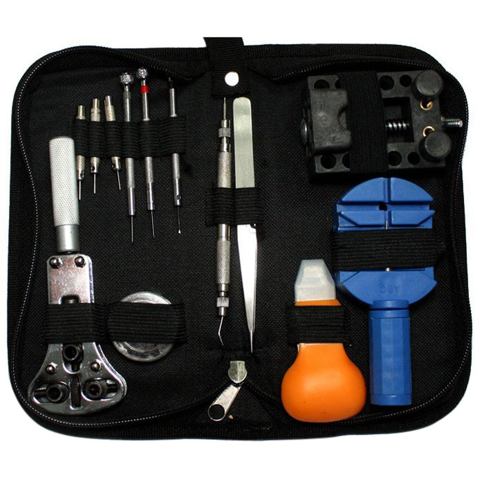 13pcs Professional Watch Repair Tool Kit Watch Case Opener Link Remover Spring Bar Screwdriver Tweezer Tool with Carrying Case  цены