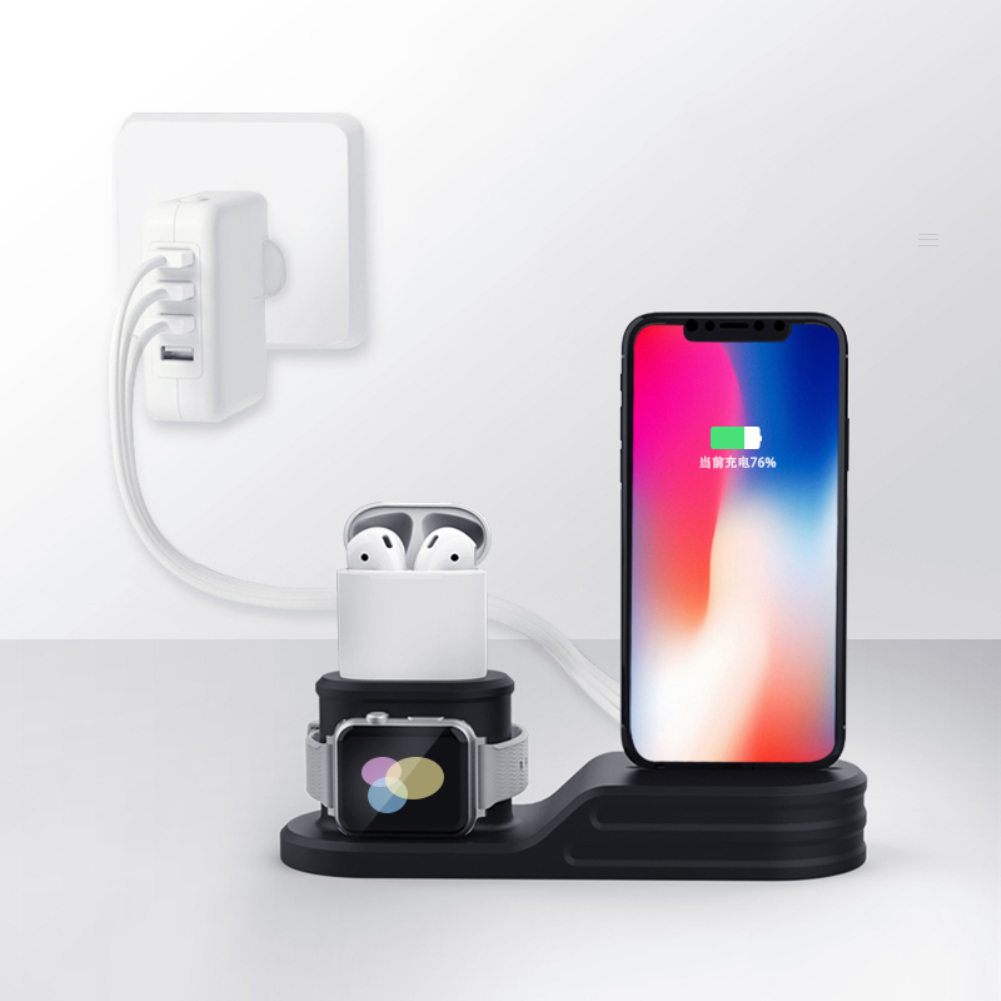 3 In 1 Charging Dock Holder for IPhone 8 X 7 6 Foldable Mobile Phone Silicone Charging Stand Dock Station for Phone Holder Stand