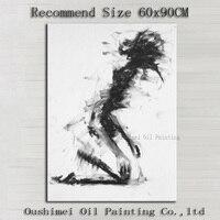 Groothandelsprijs Nieuwe Aankomst Moderne Zwart-wit Figuur Olieverfschilderij Abstract Leven Abstract Portret Schilderijen