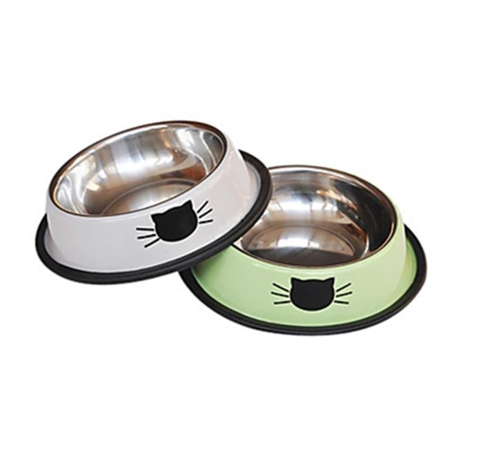 Fashion Stainless Steel Small Dog Cat Food Bowl Pet Feeding Bowl Pet Feeding Puppy Kitten Feeding Food Bowl Green Gray 15*3.5cm