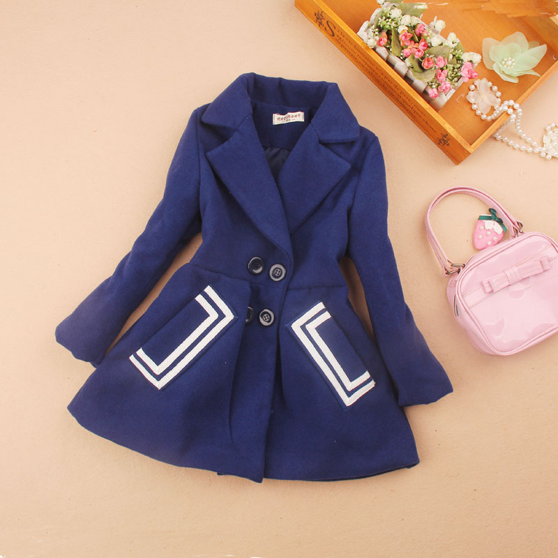 Girls Winter Coats 2019 Kids Clothes Children Clothing Girls Wool Coat Blends Cashmere Mother Daghter Clothes Age 2-16Y