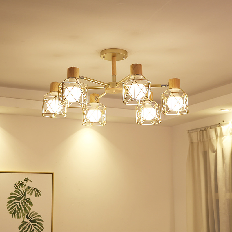 LukLoy Nordic Wood Modern Pendant Ceiling Lamp for Living Room Bedroom Luminaire Nordic Light Wood Branch Hanging Pendant Lamp