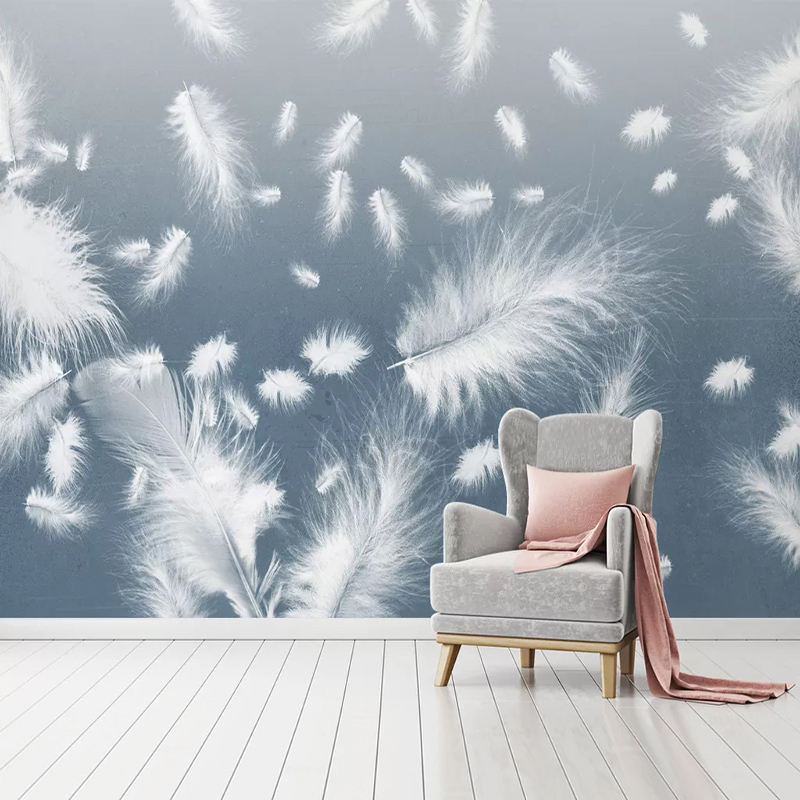 Custom Any Size Mural Wallpaper 3D White Feather Wall Painting Living Room Bedroom Home Decor Self-Adhesive Waterproof Stickers