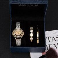 2019 watch ZONMFEI Brand 3 PCS women bracelet wristwatches with blue gift box fashion stainless steel bangle smart dress watches
