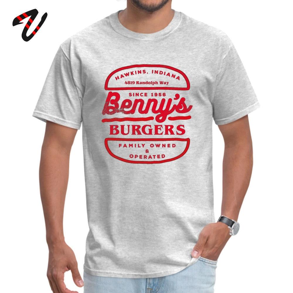 Tops Shirt Bennys Burgers Tops Shirts Summer Fall 2019 Discount Summer Short Sleeve 100% Cotton Crewneck Mens Tshirts Summer Bennys Burgers 3722 grey