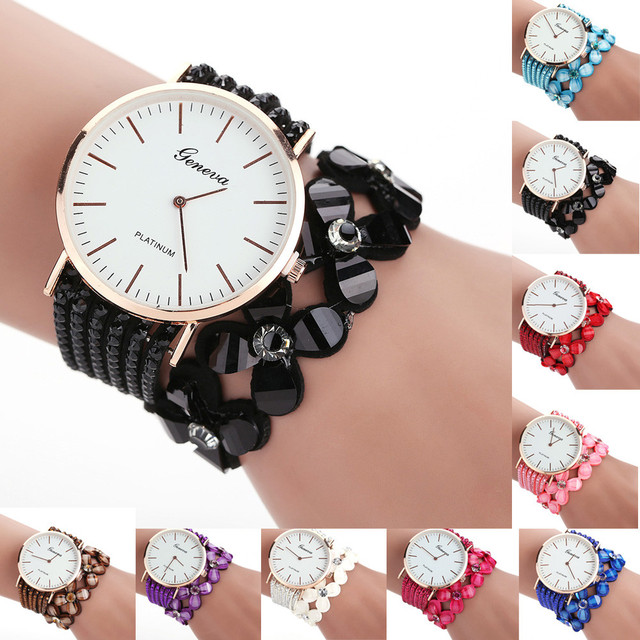 Women Geneva Watch Fashion Leisure Womens Quartz Bracelet Watch Crystal Diamond