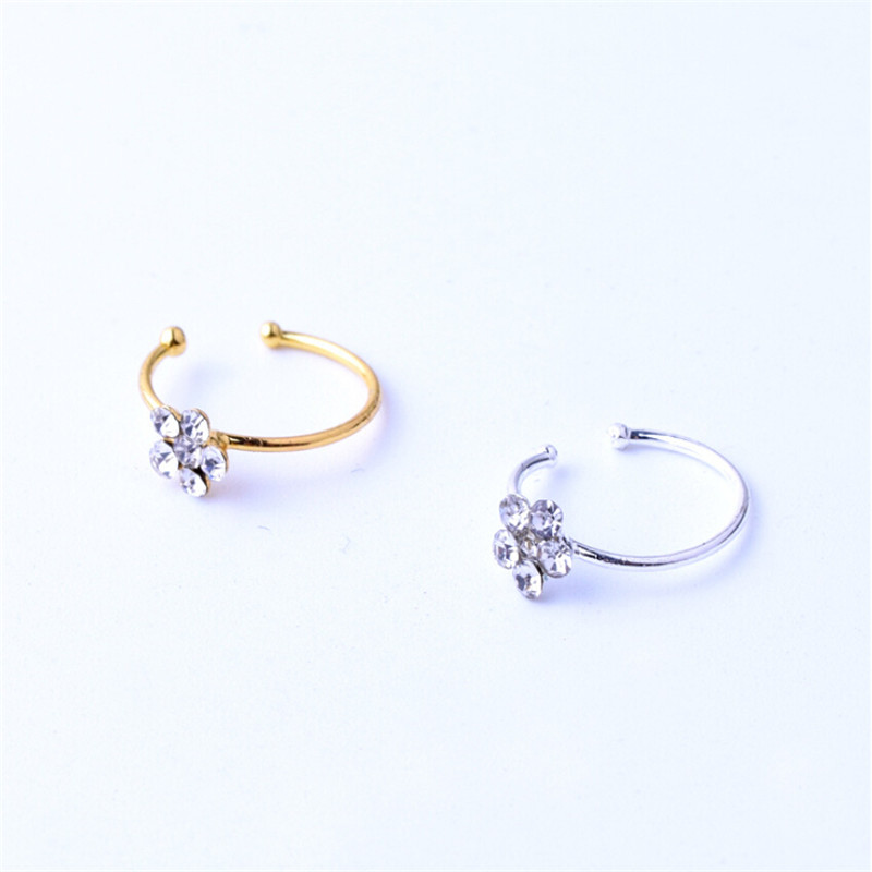 Stainless Steel Silver Gold flower Nose Open Hoop Ring Earring ...