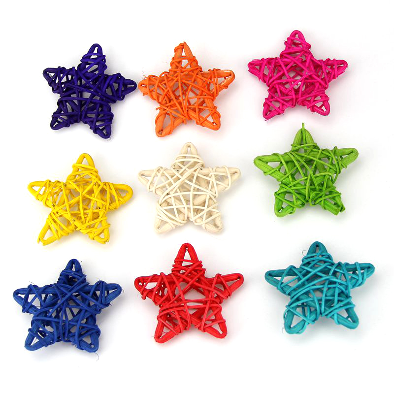 hot sale10pcs 6cm simulation wooden stars home decorations for wedding garden decoration party supplies