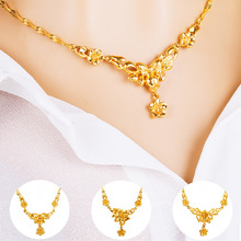 MiSheng Womens Fashion Wedding Necklace Gold Flower Pendant All-match Trend 6 Styles Copper Accessories Party Gift