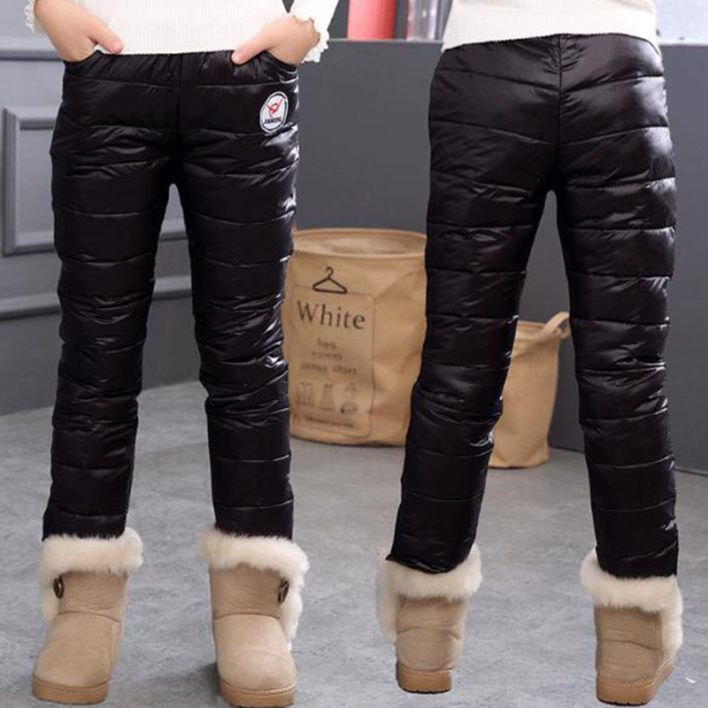 Winter Warm Kids Pants Waterproof Trousers Duck Down Girls Leggings Children Clothing Thicken Pantalon Fille Leggins Enfant