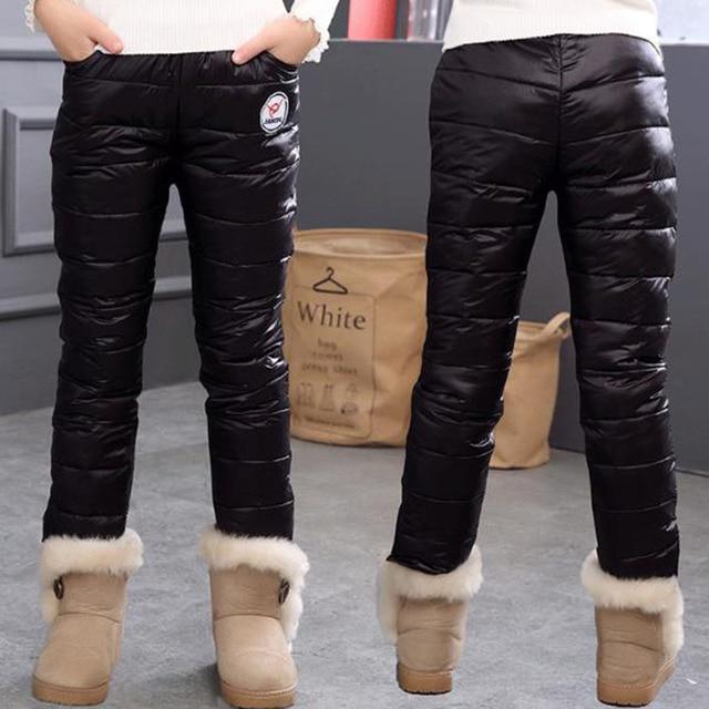 Зимние теплые детские брюки, водонепроницаемые брюки, леггинсы на утином пуху для девочек, детская одежда, плотные брюки для девочек, леггинсы для детей