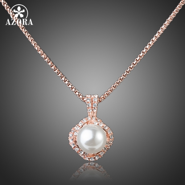 AZORA Rose Gold Color Stellux Austrian Crystal White Genuine Pearl Pendant Necklace TN0067