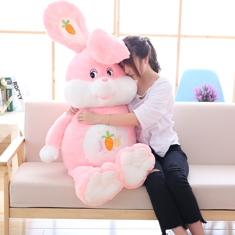 90cm Pink Rabbit with Carrot Plush Toy Kawaii Cute Rabbit Doll for Baby Kids Girl's Sleeping Doll Lovely Children Birthday Gift 60cm new queen couple rabbit plush toy of peter rabbit doll wearing glasses rabbit doll valentine s day gift